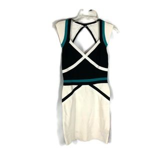 Bebe White Color Block Bandage Mini Dress Size XS